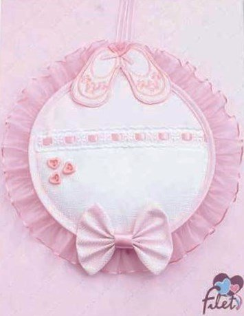 Fiocco nascita scarpette   con inserto in tela aida da ricamare   27 x 27 cm - rosa
