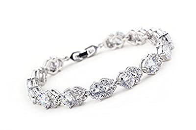 "MUUII Tennis Bracelet For Women - Silver with SWAROVSKY ELEMENT Cubic Zirconia (CZ) Crystals - Real Diamond Sparkle ""Good Friends Bracelet"" - Perfect Gift for Mother's day or Birthdays"