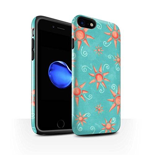 STUFF4 Glanz Harten Stoßfest Hülle / Case für Apple iPhone 8 / Lila/Weiß Muster / Sonnenschein Muster Kollektion Türkis/Rot