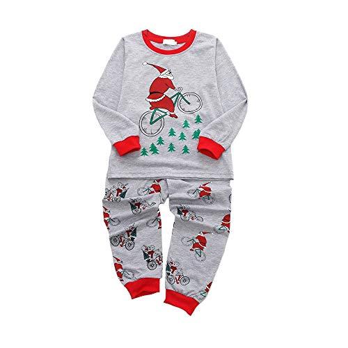 WeblaKinder Langarm Cartoon Santa Bike Print Pullover Pyjamas Tops + Lange Hosen Home Service 2 Stück Set (18 Monate-5 Jahre) (3-4 Jahre, Grau)