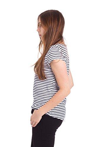 Abbino 37024 Damen Shirts Tops - Made in Italy - Frühjahr Sommer Basics Tshirts T Damenshirts Damentops Kurzarm Taillenlang Rundhals Gestreift Sale Feminin Lässig Sexy Spitze Festlich - 3 Farben Blau
