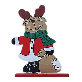 CARRYKT Independiente de Madera Papá Noel Muñeco de Nieve Ciervo Fiesta de Navidad Decoraciones para el hogar Adornos de Escritorio