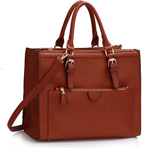 LeahWard® Damen ModeDesigner Front Pocket Grab Tote Handtasche Modisch Qualität BoteSchultertaschen CWS00366 (braun)