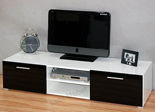 Labi TV1 meuble TV Meuble TV bas unterschrank Luna Corps : Blanc Brillant/façades : Noir brillant