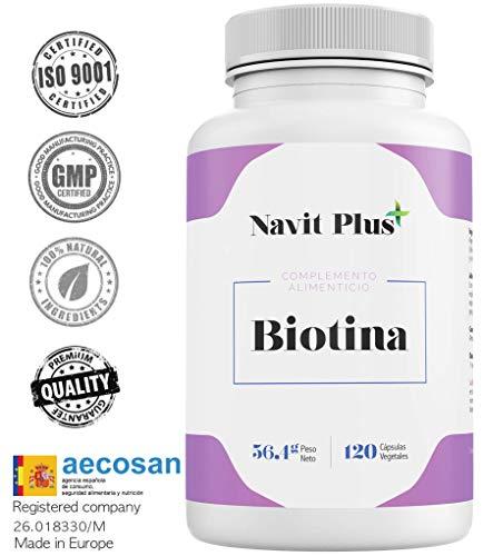 Biotina.Vitamine per la pelle di Biotina 10000mcg per rinforzare ed evitare la caduta del capello. Ingredienti di alta qualità. Pelle, capelli ed unghie più forti e sane. 120 biotina capsule vegetali.