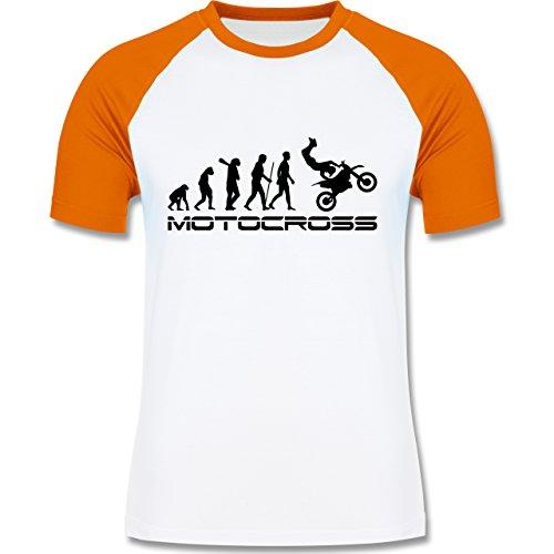 Shirtracer Evolution - Motocross Evolution - Herren Baseball Shirt Weiß/Orange
