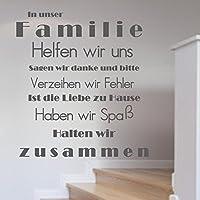 WANDTATTOO In unserer Familie...Familienregeln Wanddekoration Wohnzimmer Flur Farbe./Größenauswahl Spruch