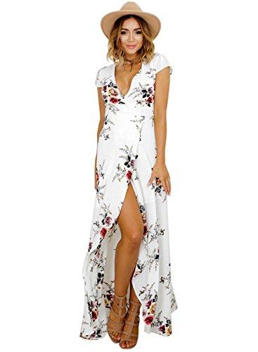 Femmes Bohème Longue Maxi Robe de Plage Robes Bustier Été Floral Imprimé 3/4 Manche Robe Col Badeau Taille Grande (Blanc-1, M)