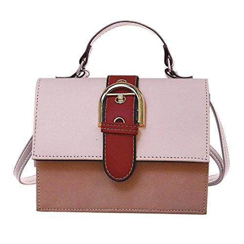 Damen Taschen Patchwork Flap Bag Haspe Crossbody Kleines Ledertasche Freizeit Gurt Handtasche Elegante Umhängetasche aus Leder Arbeit Büro Clutch Crossbody Damentasche Damenhandtasche URSING (Rosa)