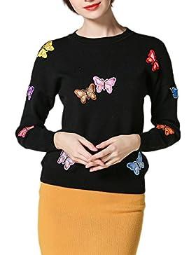 Manga larga mariposa bordado Jersey suéter mujeres