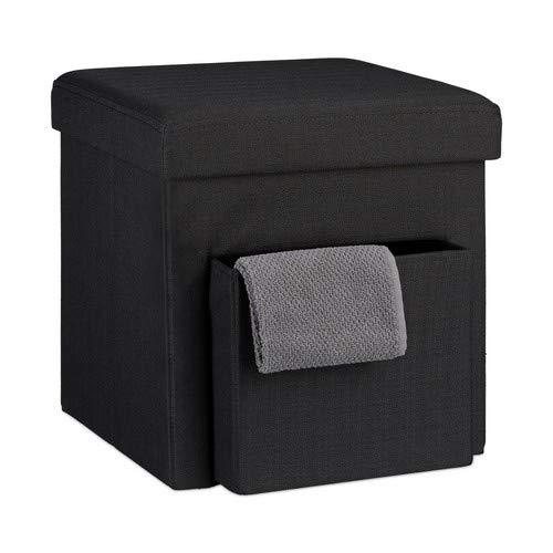 Relaxdays Faltbarer Sitzhocker, Leinen, Aufbewahrungs-Fach, abnehmbarer Deckel, Sitzwürfel, stabil, bis 300 kg, HxBxT 38 x 38 x 38 cm, verschiedene Farben, schwarz -