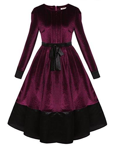 ACEVOG Damen Retro Vintage Langarm Samtkleid Abendkleid Maxi Samt Partykleid festliches Kleid mit...