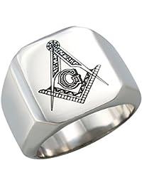 UM joyería Acero inoxidable Hombres Mujer Masónico Masón anillos Banda,Plata