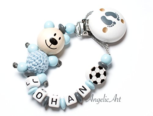 Baby Schnullerkette mit Wunschnamen - Junge - Bär - Fußball (Schnullerkette mit Namen - weiss/grau Blau - Bear -)