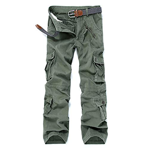 iCKER Herren Cargo Hose Camouflage Pants Camo Trousers Arbeitshose Freizeithose,Armeegrün,Taille:82 ,Grösse 32