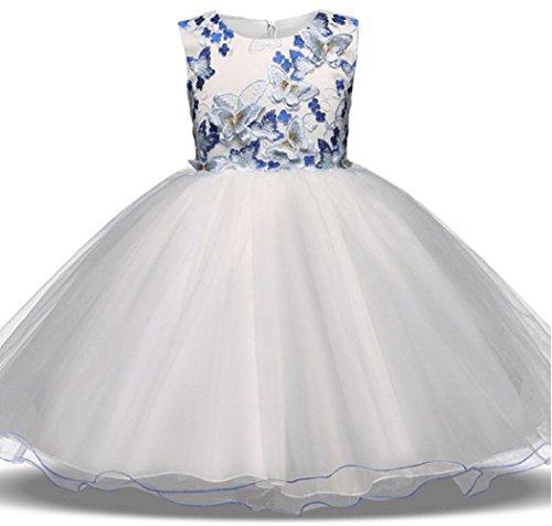 AGOGO Mädchen Blumenmädchenkleid Kinder Spitze Stickerei Schicht Hochzeitskleid Tüll Festkleid Abendkleid Partykleid Gr. 104 116 128 140 152 (A 1, 116)