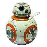 Joytoy Star Wars-BB - Zuccheriera con Cucchiaio in Ceramica, 8 x 12 x 16 cm, Colore: Bianco/Arancione