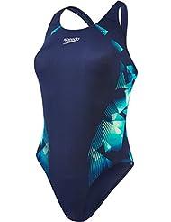 Speedo Cosmic punto Placement Powerback, Bañador para mujer, Multicolor (Navy/Jade/Lemon Sorbet), talla del fabricante  34