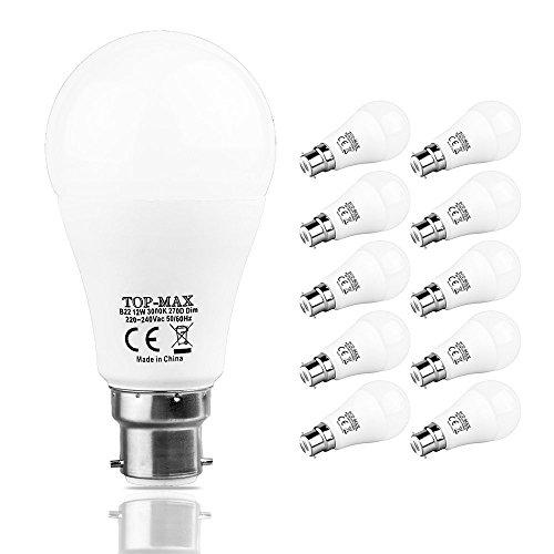 Lot de 10B2212W Ampoule Lampe LED à intensité variable Blanc chaud 3000K Ampoule à économie d'énergie Lumière 75W ampoules à incandescence équivalent 202835SMD 1100lm 270deg Angle de faisceau Globe Balle de golf Intérieur salle à manger Salon Chambre à coucher salle de lecture murale de plafond