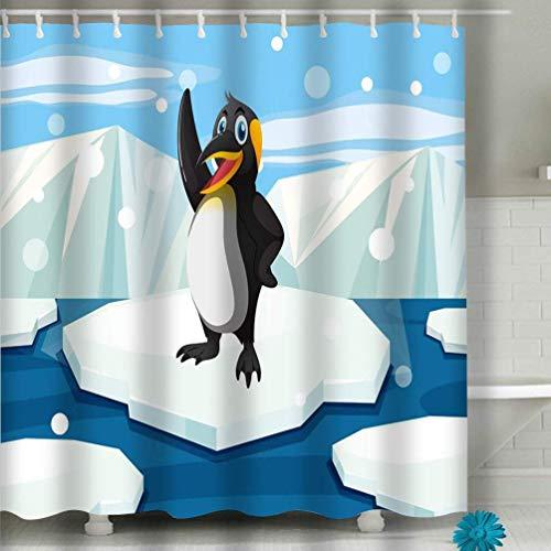 WENYAO Duschvorhang Pinguin Muster grün Polka Dot Hintergrund Pinguin Muster grün Polka Dot Hintergrund Cute Vektor-Illustration 60 x 72 Zoll
