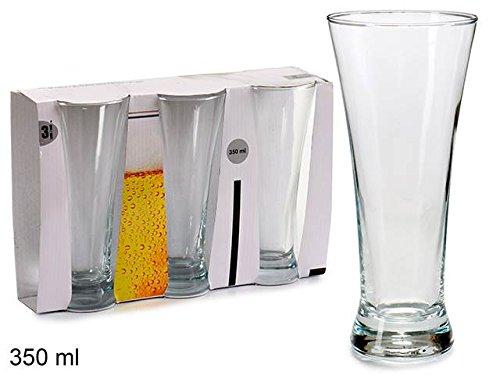 Takestop® set 3 pezzi bicchiere bicchieri da birra alto bocca larga 8x28x18 cm 350 ml caraffa cristallo trasparente vetro bevande boccale