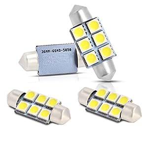 Neuftech 4x blanc 36mm 5050 ampoules 6smd feston d me for Lumiere interieur voiture
