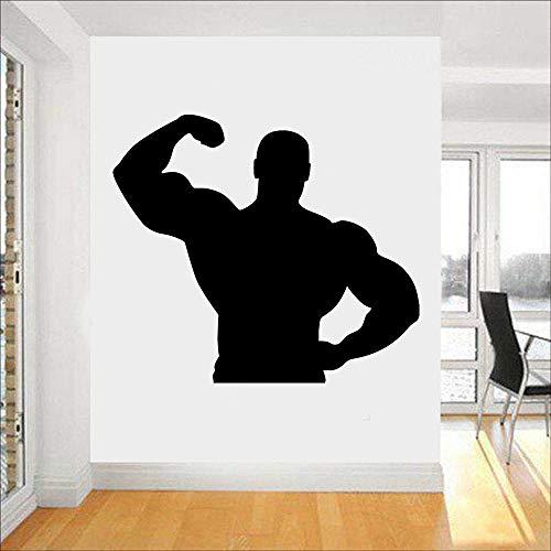 guijiumai Adesivi murali Silhouette Uomo muscoloso per Camera da Letto Sport Fitness Body-Building Stickers murali Palestra smontabile Decorazioni da Parete Poster Nero 48X42 cm