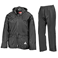 Result Waterproof Jacket/Trouser Suit in Carry Bag Black L