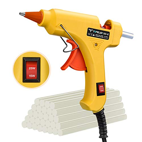 Topelek pistola per colla a caldo, 15w/25w dual power mini pistola colla ad alta temperatura con 30 pezzi colla stick, per diy arti, decorazione di festival e piccole casa/ufficio riparazioni