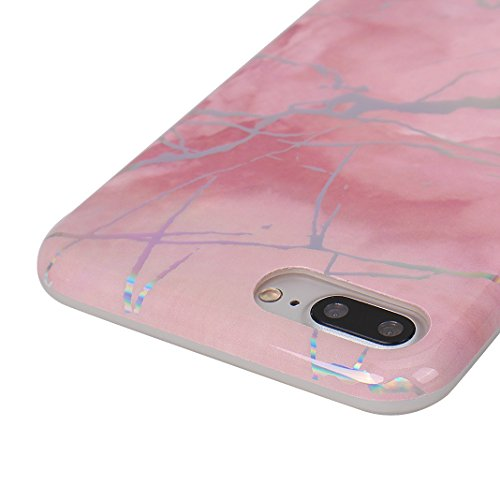 Coque Silicone Transparent iPhone 7 Plus Case,Etui Housse Apple iPhone 8 Plus Coque rigide transparente Souple Cas Rosa Schleife®Silicone Gel Etui de Protection Portable Téléphone Pochette arriere Bum Rose