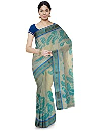 Poushali Hand Painted Handloom Cotton Saree (White & Sky Blue)