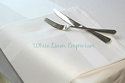 Set of 6 Superior White 100 % Cotton Satin Band Napkins 22 x 22 (56 cm x 56 cm) by White Linen