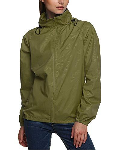 Tomasa Damen Funktionsjacke,leichte Regenjacke Wasserdicht Atmungsaktiv &Sportjacke Windbreaker (XXXL, Armee grün) - Armee Windbreaker
