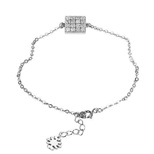Epinki Damen Armband 925 Silber Damenarmband Freundschaftsarmbänder Quadrat mit Kristall Weiß 17CM