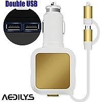 aedilys 4.8A 2porte USB caricabatteria da auto + 2in 1Cavo