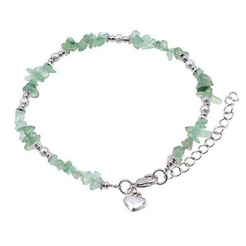Lovely avventurina verde pietra preziosa chips con silver tone perline e ciondolo forma di cuore cavigliera