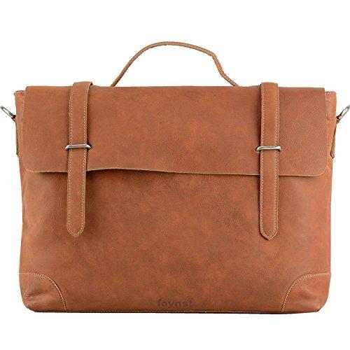 Echt Leder Messenger Bag Aktentasche Schultertasche Umhängetasche DIN-A4 Laptoptasche 15,6 Henkeltasche tan (Leder Aktentasche Tan)