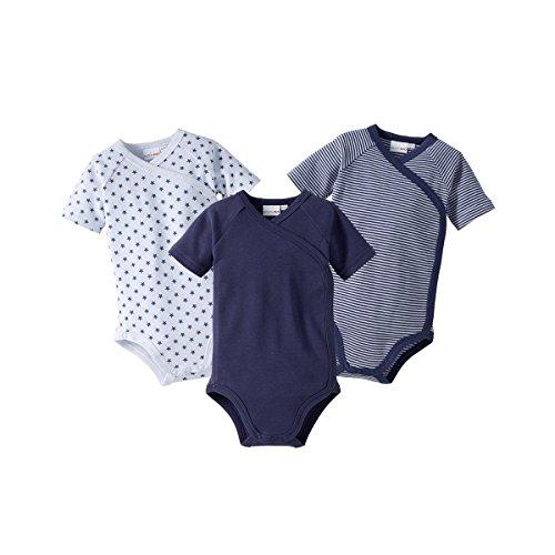 *Bornino Wickelbodys Kurzarm Mouse & Elephant (3er-Pack) – Baby-Bodys mit Druckknöpfen aus Reiner Baumwolle – 1x unifarben + 2X Allover-Print*