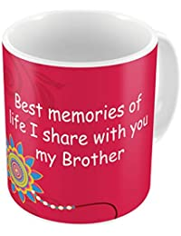 Indigifts Raksha Bandhan Gifts for Brother Best Memories with My Bro Quote Pink Coffee Mug 330 ml - Special Rakhi Gifts for Brother, Birthday Gift for Brother, Rakshabandhan Gifts