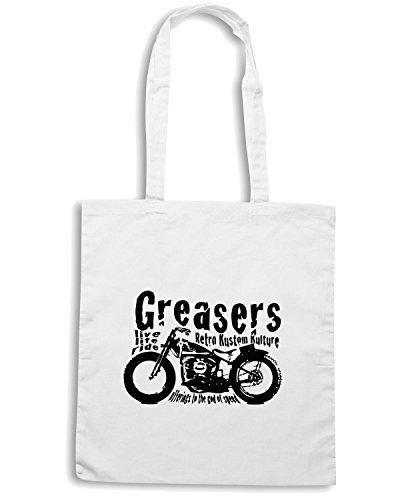 T-Shirtshock - Borsa Shopping WC0381 Greasers Live Life Bianco