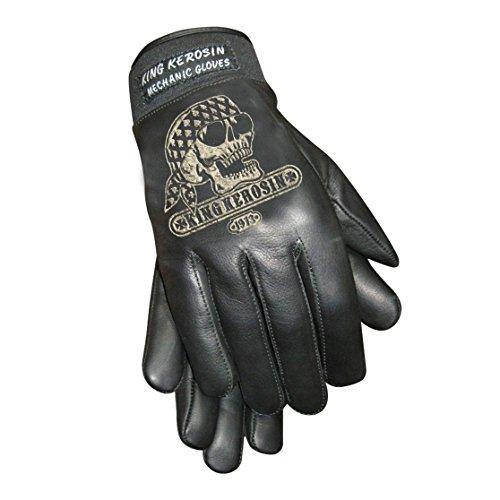 King Kerosin Gas Grass & Ass Handschuhe Lederhandschuhe (L, Schwarz)