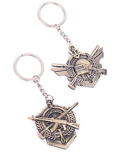 Pack of 2 PUBG Rank Honor Medal Accessories Cute Copper Pocket Keychain Decor Bronze Keyring Pendant Charms Gifts for Boy Girl Best Friends/collections
