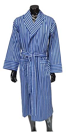 Men's Luxury Satin Stripe Lightweight Dressing Gown - Navy, Blue & Yellow (Medium)