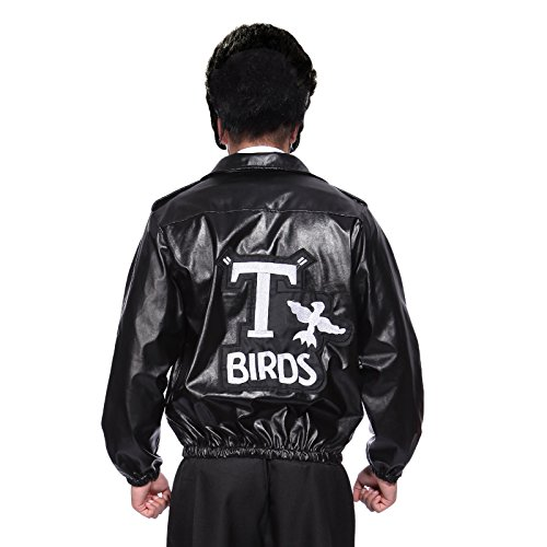 50s Grease Black Leather Look T-Bird Jacket with Embroidered Logo - Danny T Bird Fancy Dress Costume