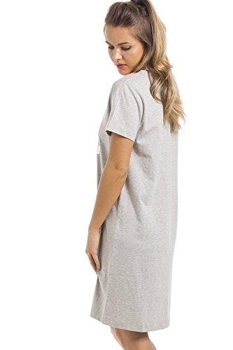 """Camille - Nachthemd mit kurzen Ärmeln und Schriftzug """"Wakey Wakey�?- Grau Grau"""