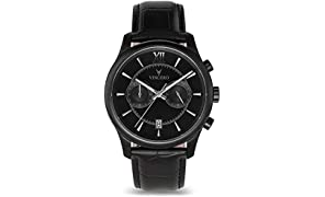 Vinceo Luxury Men's Bellwether Wrist Watch - Matte Black dial with Black Leather Watch Band - 43mm Chronograph Watch - Japanese Quartz Movement