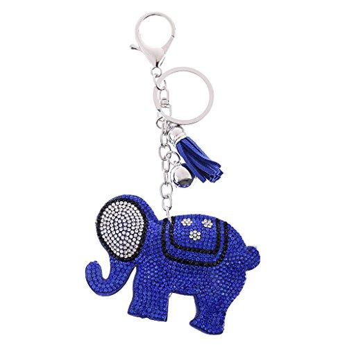 P Prettyia Llavero de Rhinestone Diamante de Imitación Brillante Diseño Cute Encantador - Elefante Azul