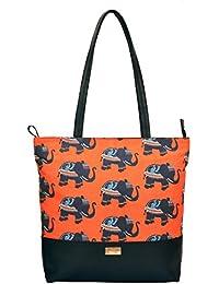 Women's Tote Bag(Orange And Black)