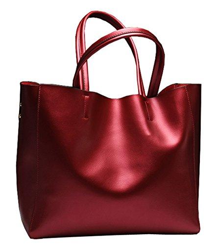 SAIERLONG Nuovo Donna Blu Vera Pelle Borse Tracolle Vino rosso