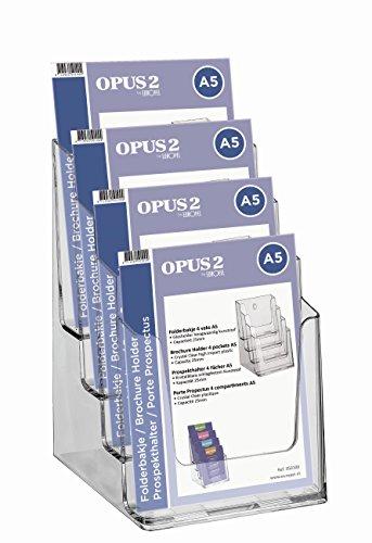 OPUS 2A5quattro livelli dispenser ritratto per volantini in acrilico trasparente